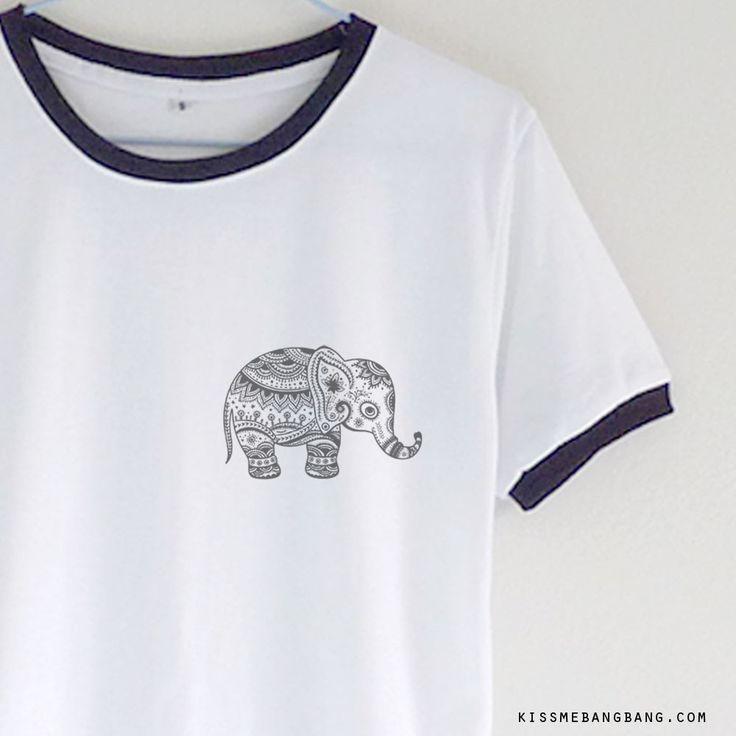 tribal elephant_Ringer Tee_White_Zoom