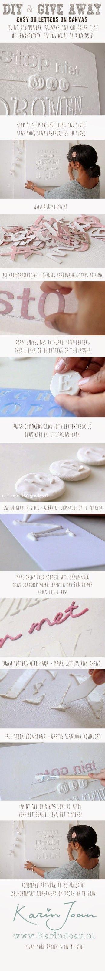 Karin Joan: GIVE AWAY & ZELFMAKEN & VIDEO: Canvas met 3D letters van babypoeder en satehstokjes!!