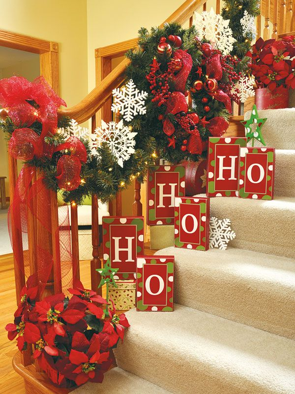 Country Sampler   Home for the Holidays: The Holidays, Christmas Stairs, Stairs Decor, Holidays Decor, Country Sampler, Christmas Decor, Christmas Color, Christmas Ideas, Christmas Staircases
