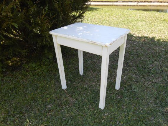 White Farmhouse Wood End Table End Table-Cottage by AtticJoys1