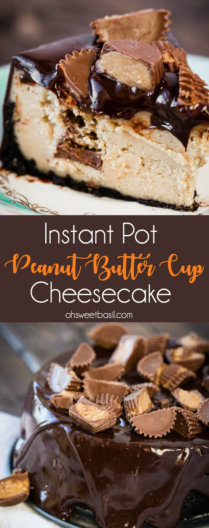 Dessert recipes for the instant pot are amazing! This instant pot peanut butter cup cheesecake has an oreo crust as well so dig in!