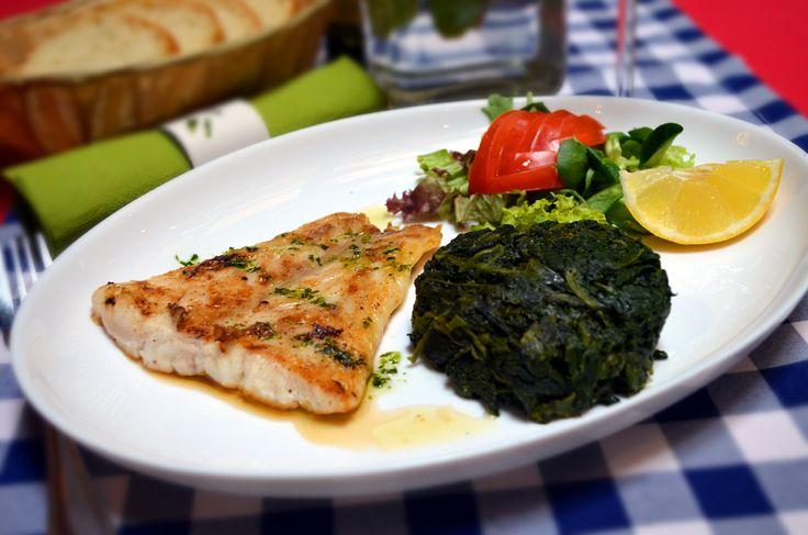 Lunch menu - Sea perch, spinach