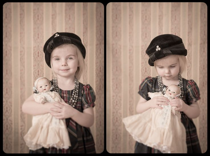 Playing dress-up with some of grandma's old clothes.