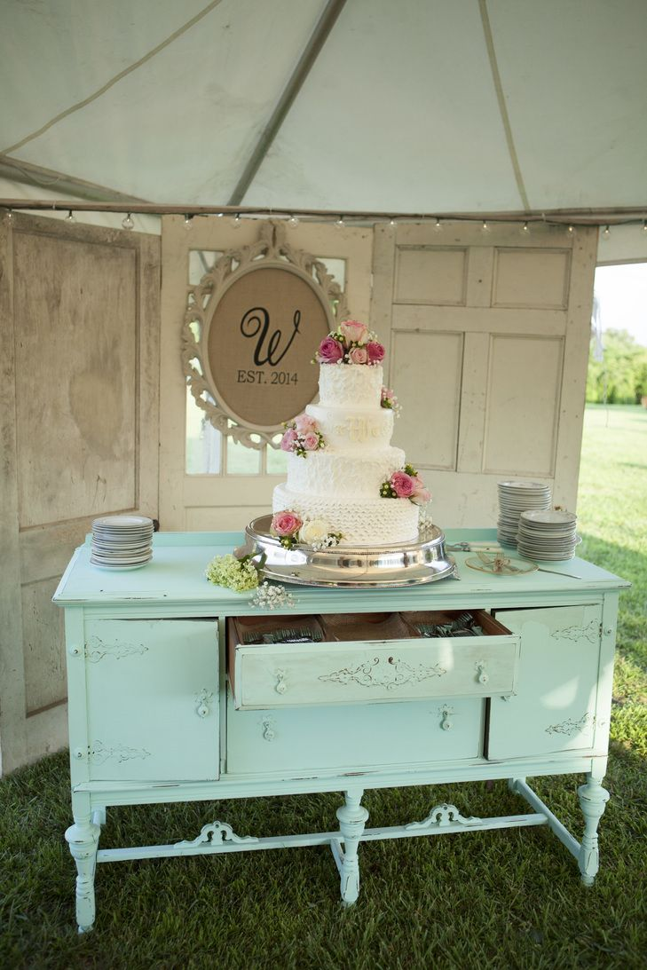 Ivory Wedding Cake on Vintage, Mint Dresser | Mandy Owens Photography https://www.theknot.com/marketplace/mandy-owens-photography-albertville-al-498979