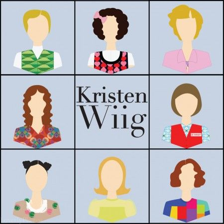 Kristen Wiig. Clockwise from top left: Kat (of Garth and Kat), Gilly, Aunt Linda, Target Lady, Surprise Lady (Sue), Dooneese (Lawrence Welk Show), impersonating Björk, and Penelope. Too bad there's no Judy Grimes!