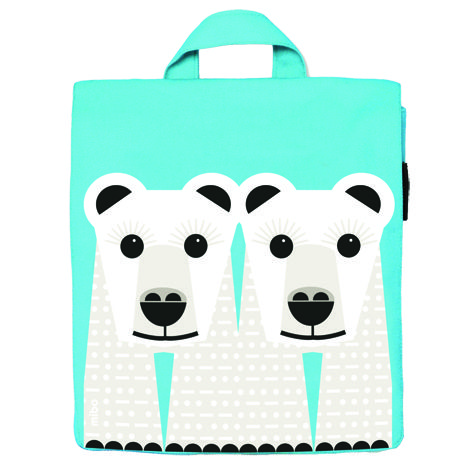 Blue Kid's bag with polar bear print by Coq en Pate Editions. Because endangered species require that we preserve their habitat Coq en Pâte designed the SOS (Save our species) collection. www.littlefrenchy.com.au #backpack #polarbear #saveourspecies #backtoschool