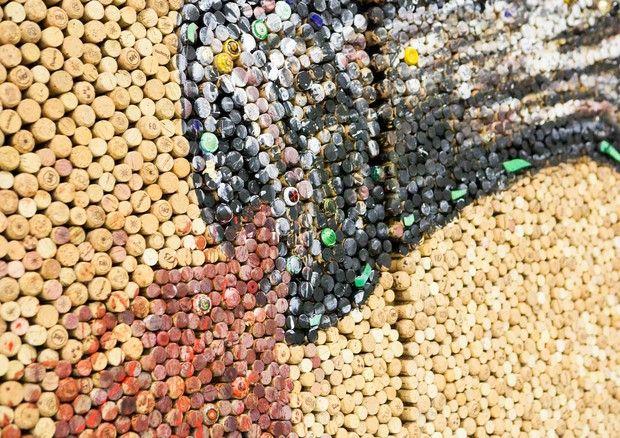 #cibo & #arte: opera d'arte fatta con tappi di sughero! #vino #ecosolidale #promozione #sanomangiareit
