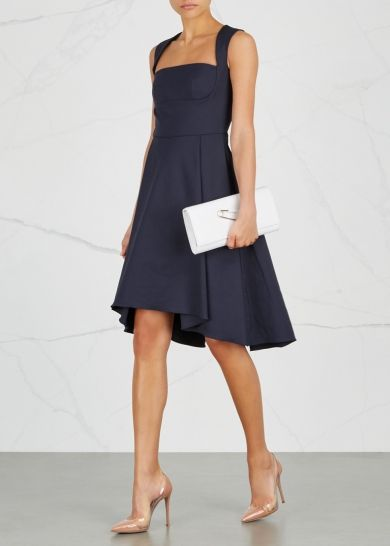 OSMAN Doris navy cotton blend dress - Harvey Nichols