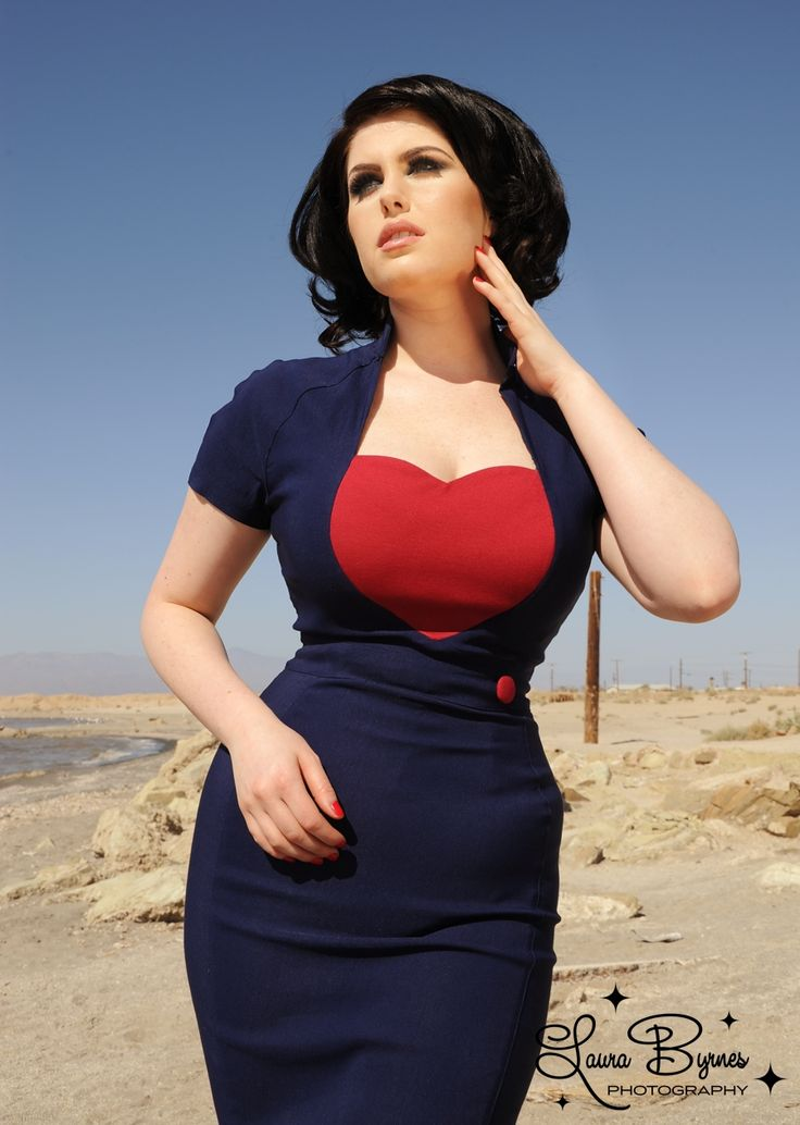 Veronica Dress in Navy with Red Heart by Pin up Girl Clothing I really like this dress! KB