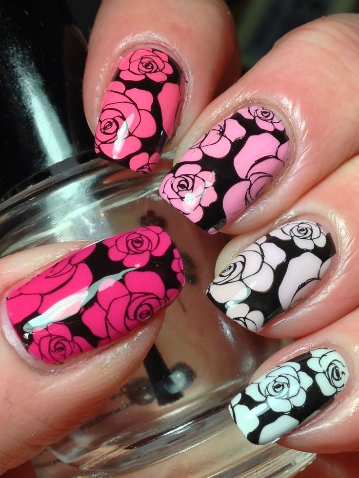 44 best nail stamping images on pinterest cute nails nail awesome rose bloom nail stamping techniqie ombre roses using uberchic plate solutioingenieria Image collections