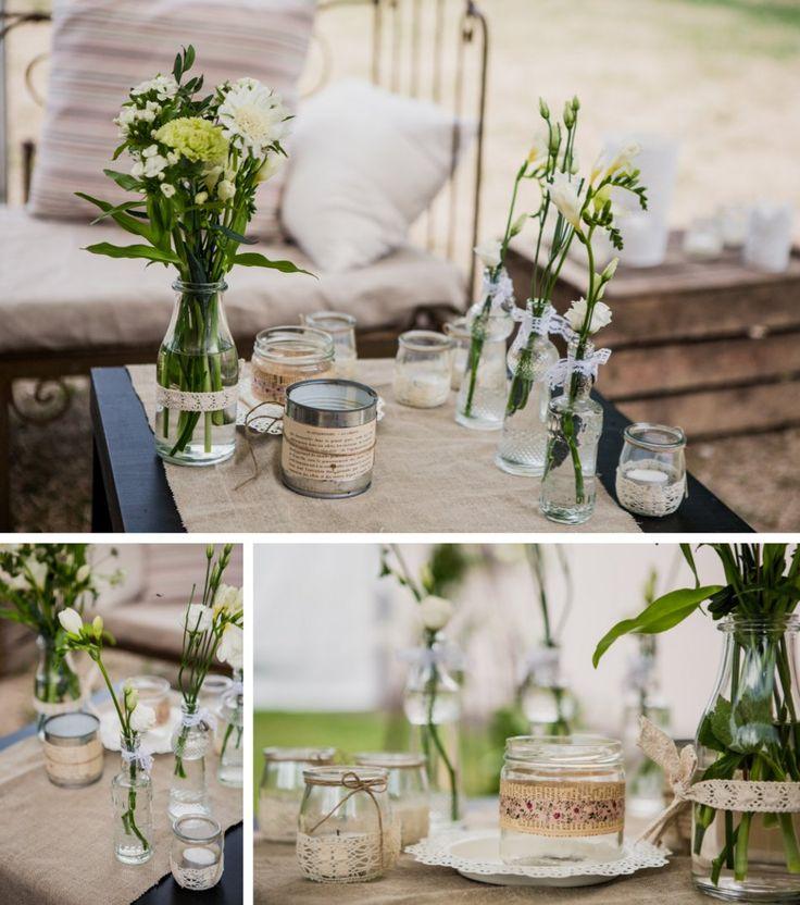 Lanterne centre de table lin et dentelle Déco et fleurs by ...