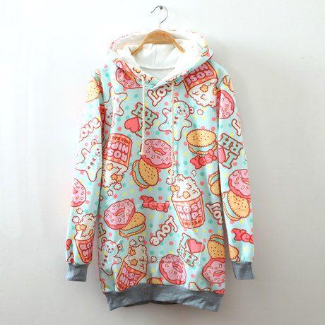 Cream dessert cartoon fleece hoodie from Lovely Kawaii. It's a must buy! <3 <3 #kawaii