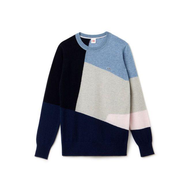 Pull col rond Lacoste LIVE en laine mélangée color block