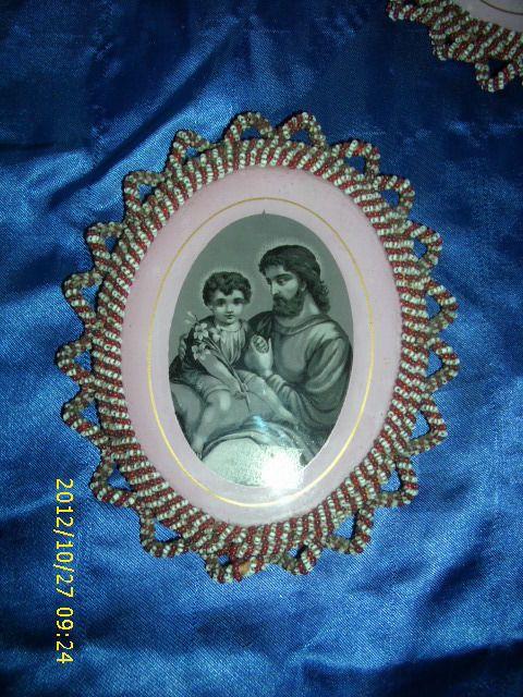 174) Heiligenbild wunderschöne Klosterarbeit Bild in Perlen gerahmt ges. gesch.