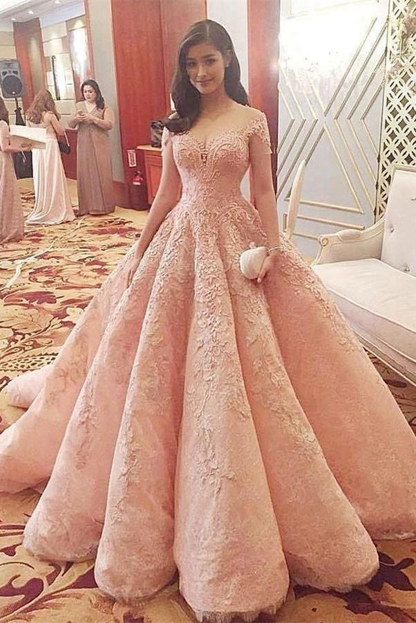 Pink Ball Gown Lace Short Sleeves Prom Dresses,Princess Dresses Z0227