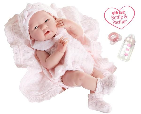 """15.5/"""" 18785 JC Toys Deluxe Realistic Baby Doll With Fabric Basket /& Gift Set"""