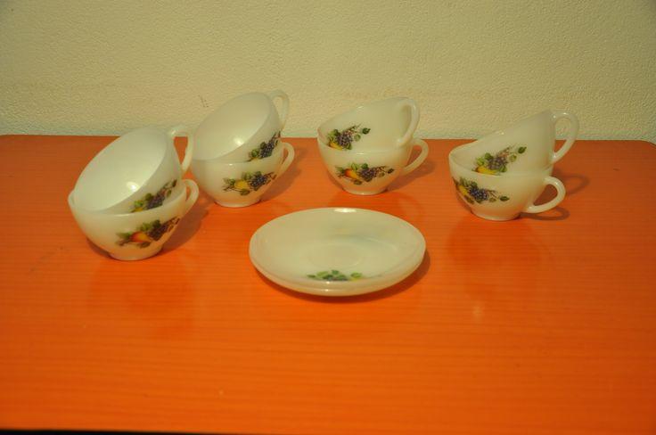 Arcopal cup and saucers for cafe au lait (or soup). Fruits de France pattern.