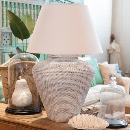 Rattan Lamp White Styled