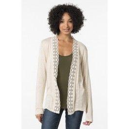 Crochet lace ivory knit cardigan