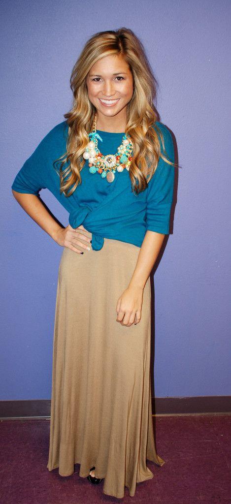 Fall Maxi Skirt Taupe   Impressions