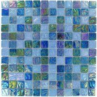"Elida Ceramica - Emperial Tile - 12""x12"" Glass Mosaic in Sea Oil"