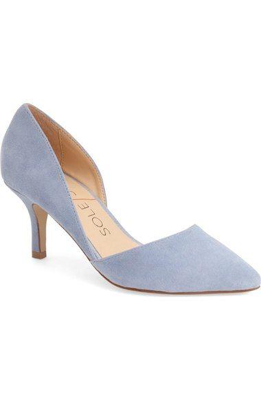 Sole Society 'Jenn' d'Orsay Pump suede light blue 2.5h sz7.5 69.95 4/16
