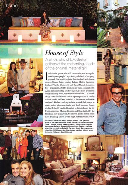 C Magazine covers the AGA Total Control Los Angeles launch at Kathryn Ireland's home.