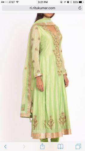 Ritu Kumar three PC. Stunning Anarkali In Parrot Green – A2Z Smartstore.com