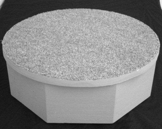 This round fitting platform is perfect for your alteration shop or even in your home! This step-up fitting platform will take the stress out of tailoring and alterations. It is locally made in Milford, OH. The sturdy wooden base is available in beige or gray with a carpet top. It measures 30
