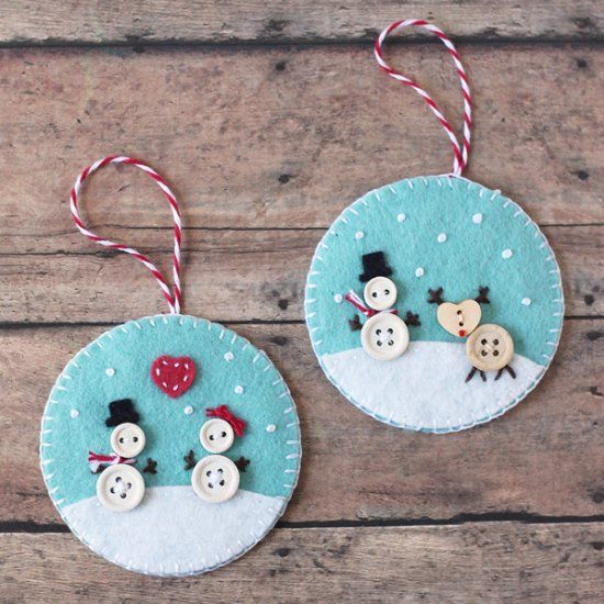Make these adorable snowman ornaments using felt and buttons.