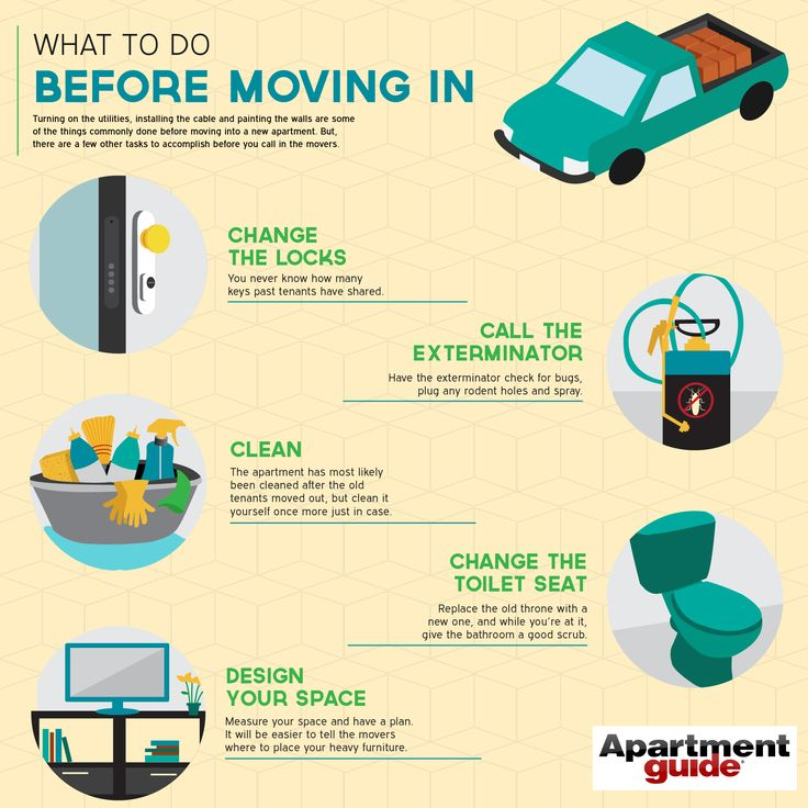 What to Do Before Moving In: Infographic ... Change the locks, clean, set up utilities and install cable.