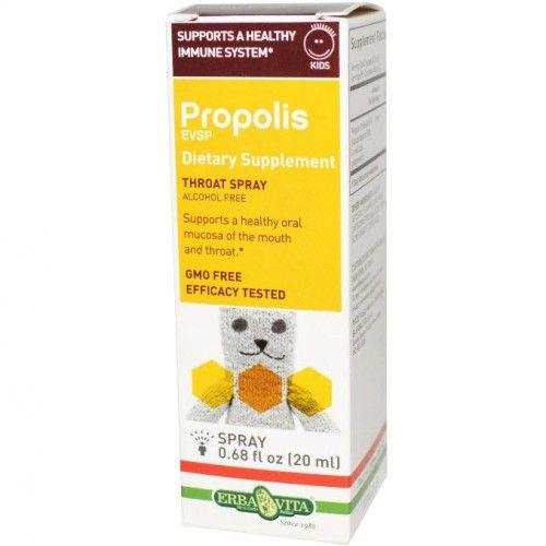 อาหารเสริม โพรพอลิส (propolis) ยี่ห้อ Erba Vita, Propolis EVSP Kids Throat Spray, 0.68 fl oz (20 ml)