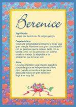 Berenice - Nombres, El significado de los nombres, Tu nombre, Tarjetas postales TuParada.com