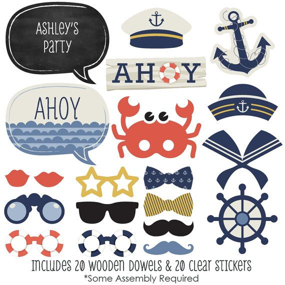 A fabulous photo booth has two things: a great backdrop and unique photo booth props. This set of Ahoy Nautical photo booth props will be the