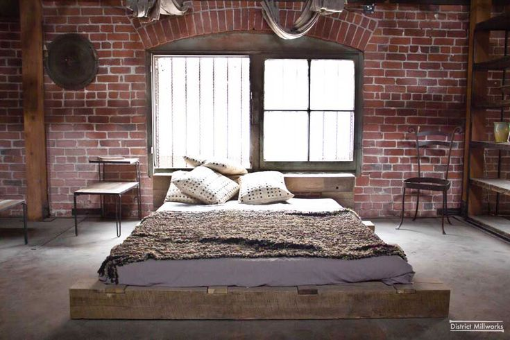 District Millworks Furniture, bed from reclaimed barn beams