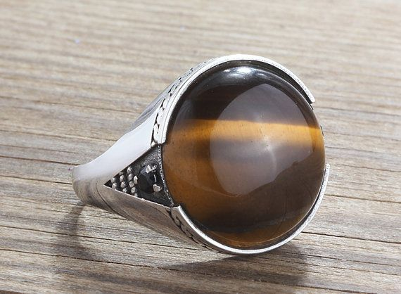 Mens Silver Ring, Natural Brown Tiger's Eye Ring, 925 Sterling Silver, 6 to 14 sizes, man gemstone ring