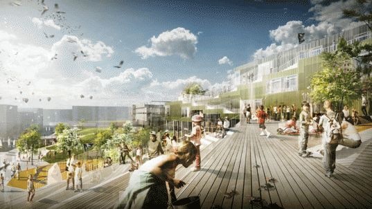 JWW Arkitekter, Sydhavn Skole, Sluseholmen, Copenhagen, Green Roof, School, Rooftop Garden, Harbor Building, Green Building, Sustainable, Low Energy Class 2015