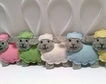 Felt sheep ornament Cute sheep toy Easter by Rainbowsmileshop