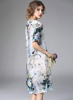 Vintage Floral Print Bead Loose Silk Dress