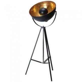 Lampadaire rétro cinéma - http://www.loftattitude.com/lampadaire/3930-lampadaire-studio-photo-trepied-bowl-noir-dore-3660173138213.html