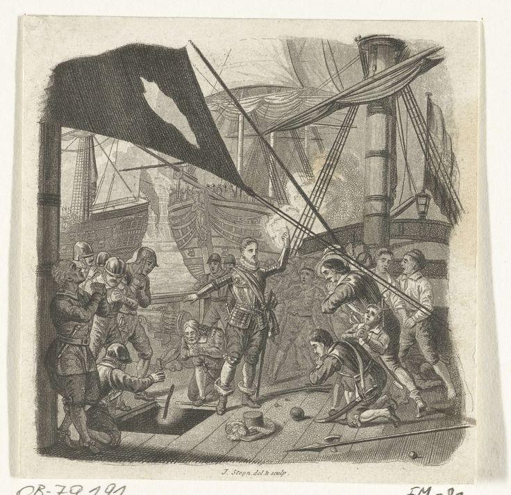 Johannes Steyn   Sebastiaan de Lange blaast zijn schip en zichzelf op, 1572, Johannes Steyn, 1835 - 1837   Sebastiaan de Lange, admiraal van Veere, steekt na een ongelijke strijd met vier Spaanse schepen bij het Sloe de brandende lont in het kruitmagazijn van zijn schip, 22 mei 1572. De admiraal staande op het dek omringd door zijn manschappen.