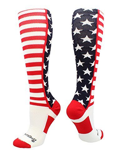 56328eab6 MadSportsStuff USA American Flag Stars and Stripes Over the Calf Socks