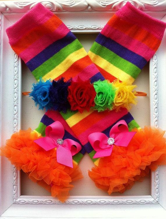 Leg Warmers Rainbow Baby Headband Birthday by BabyBloomzBoutique, $16.95