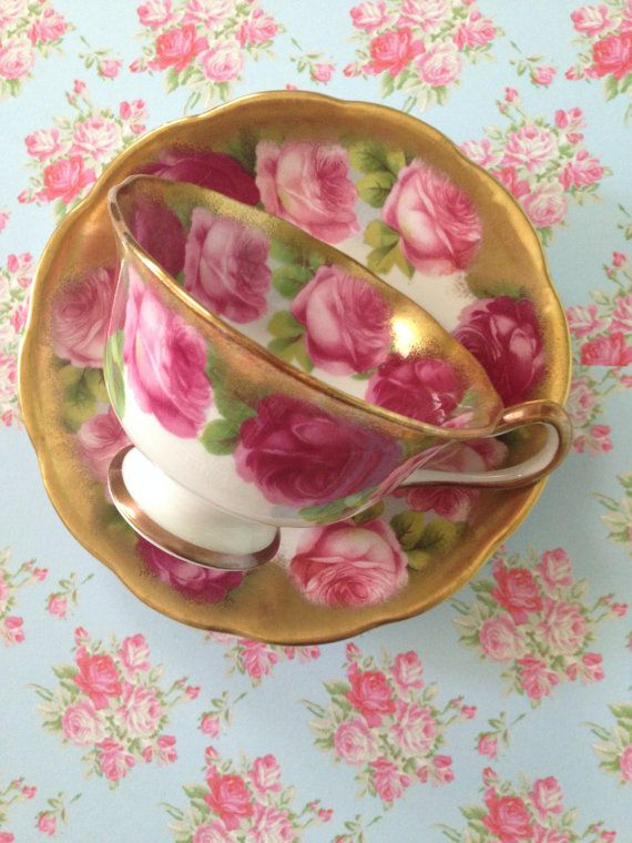 Gorgeous floral Royal Albert Old English Rose Teacup Gold 1930s.  This is a teacup - cup and saucer with matching plate in the Old English Rose