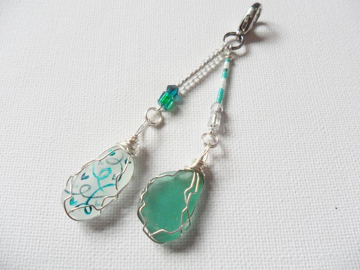 Beaded heart and swirl sea glass bag charm - hand painted by ShePaintsSeaglass on Etsy