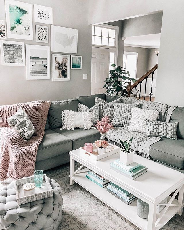 Style your sectional with textured throws and blush knits a ...