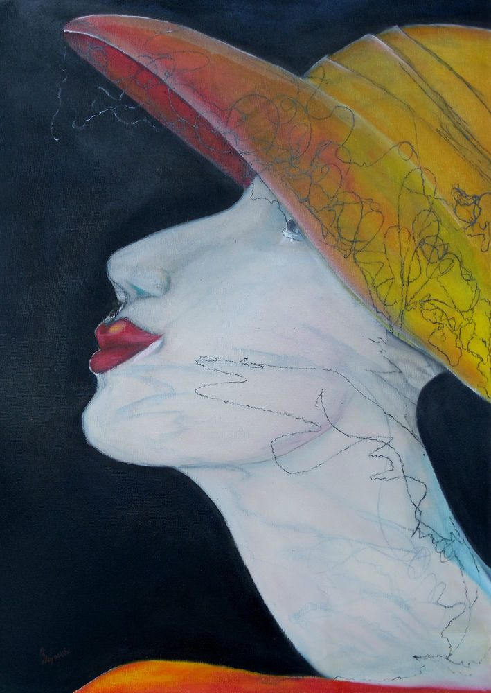 Öl Gemälde Porträt Gesicht Charakter Seele canvas Leinwand Leinen rot Hajewski