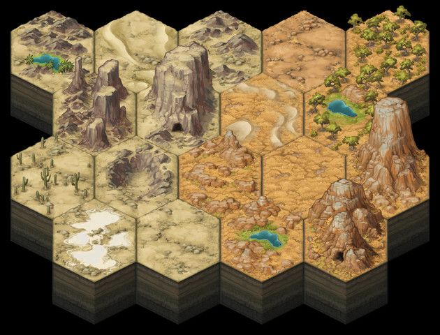 photograph about 2d Printable Terrain identified as Painted 2D Terrain Hexes: Deserts - Asset Keep