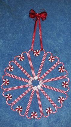 Candy Cane/Starlight Mint Wreath, made with plastic ornaments & mints ...