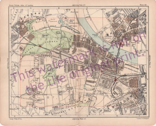 Old-1902-London-Map-Barnes-Common-Putney-Fulham-Wandsworth-Bacon-Philips